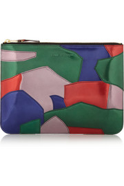 Patent-leather patchwork pouch