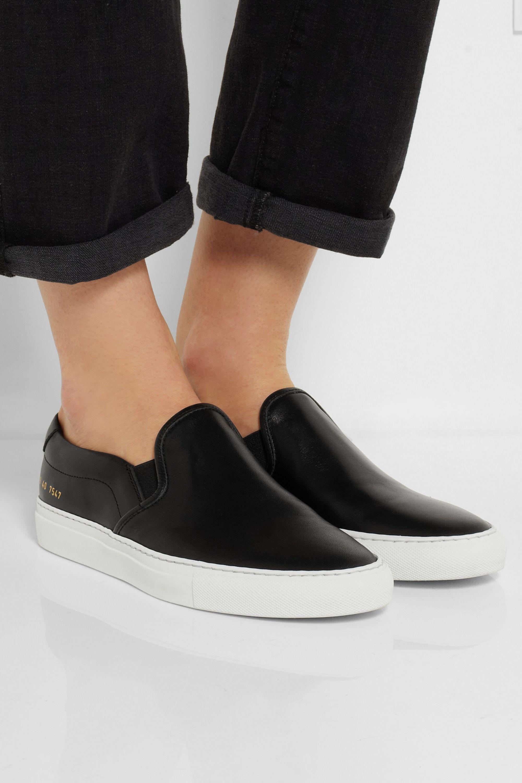 Black Leather slip-on sneakers | Common