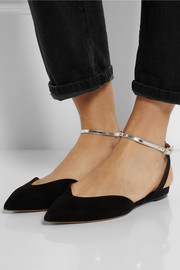 Tabitha Simmons Vera metallic leather and suede point-toe flats