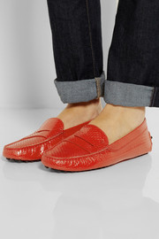 Tod's Glossed-python loafers