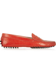 Glossed-python loafers