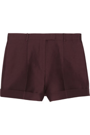 Valentino Pleated cotton and silk-blend shorts
