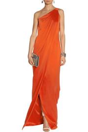 KAUFMANFRANCOOne-shoulder draped silk-satin gown