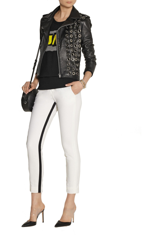 Black Embellished Leather Biker Jacket Each X Other Net A Porter
