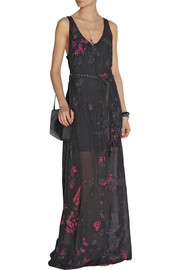Raquel AllegraPrinted crinkled silk-chiffon maxi dress