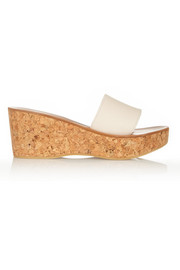 K Jacques St Tropez Kirielle leather and cork wedge slides