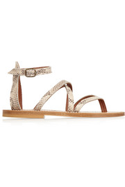 K Jacques St Tropez Epicure snake-effect leather sandals