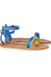 K Jacques St Tropez Laura patent-trimmed leather sandals
