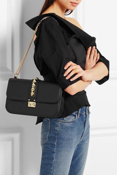 valentino lock medium leather shoulder bag leather travel bags. Black Bedroom Furniture Sets. Home Design Ideas