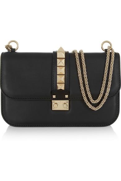 Valentino - Lock Medium Leather Shoulder Bag - Black