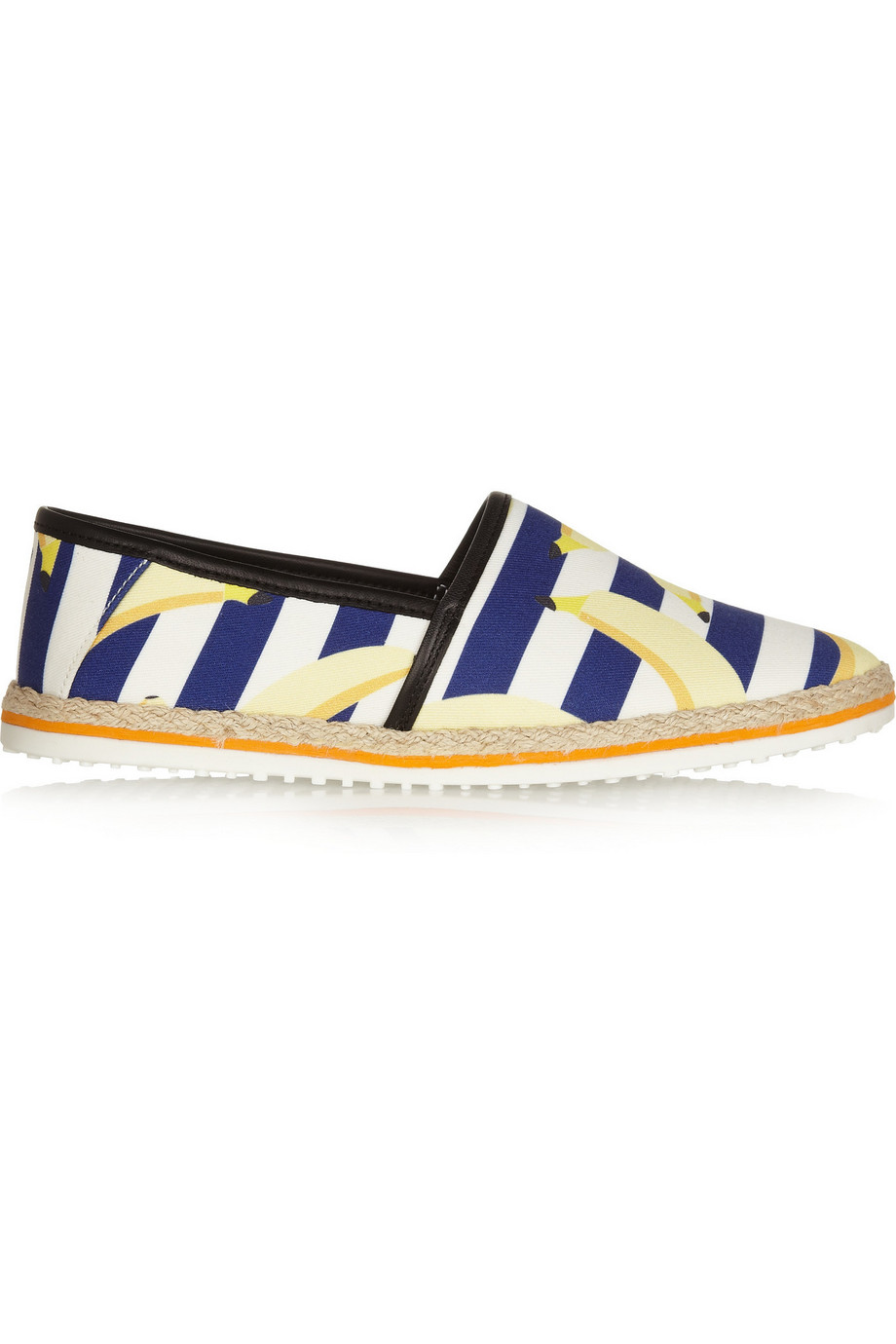 Espadrille and rubber sole measures approximately 25mm/ 1 inch Yellow, blue and white banana-print canvas Elasticated tabs, black leather trims, almond toe Slip on