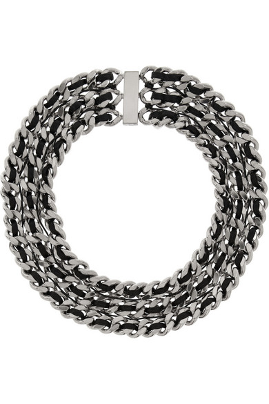 Sale alerts for Palladium-tone and leather chain necklace Saint Laurent - Covvet
