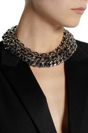 Saint LaurentPalladium-tone and leather chain necklace