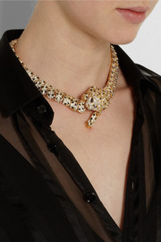 Saint Laurent Gold-plated crystal necklace