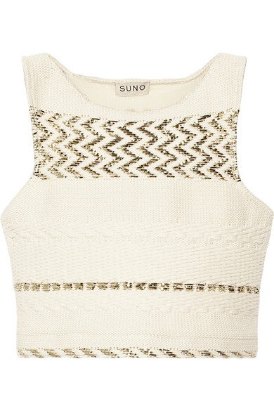 Sale alerts for Cropped metallic cotton-blend top Suno - Covvet