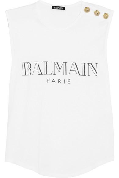 7c7aef35da4 Balmain | Printed cotton T-shirt | NET-A-PORTER.COM