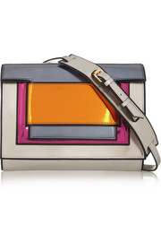 Color-block metallic leather clutch