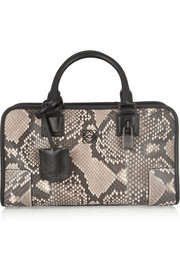 Amazona small leather-trimmed python tote