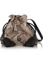 Flamenco python and leather shoulder bag