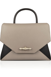 Obsedia small shoulder bag in gray and black leather