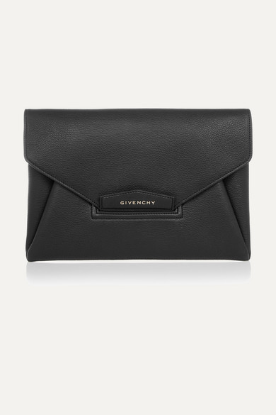 givenchy female givenchy antigona envelope clutch in black grained leather one size
