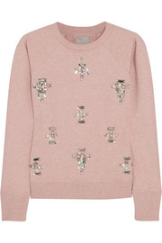 Swetc Sydney embellished stretch-cotton jersey sweatshirt