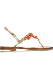 Musa Swarovski crystal-embellished metallic leather sandals