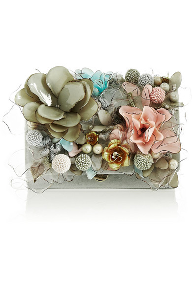 Sale alerts for Marisol floral-embellished suede clutch Marchesa - Covvet