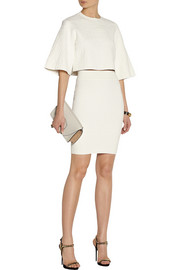 Alexander McQueenCropped croc-embossed jacquard top