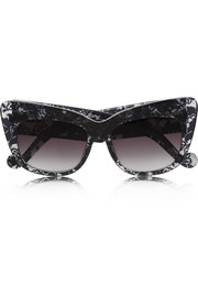 Alice Goes To Cannes cat eye lace-print acetate sunglasses