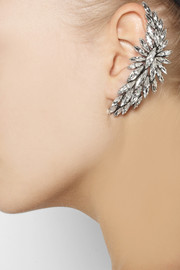 Ryan Storer Oxidized silver-plated Swarovski crystal ear cuff