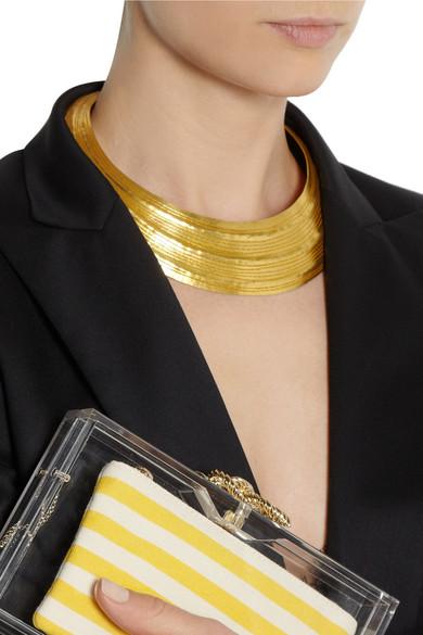 herv van der straeten textured gold plated necklace net a porter com. Black Bedroom Furniture Sets. Home Design Ideas