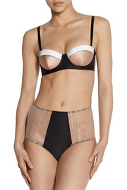 Kiki de Montparnasse Muse high-waisted satin and lace corset briefs
