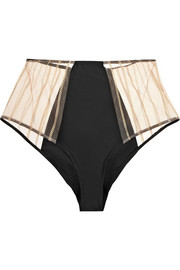 Muse high-waisted satin and lace corset briefs