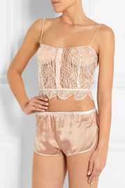 Enchante stretch charmeuse-trimmed Chantilly lace camisole