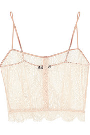 Kiki de Montparnasse Enchante stretch charmeuse-trimmed Chantilly lace camisole