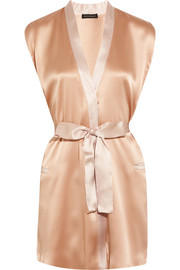 Nudite silk-charmeuse robe