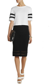 Karl Lagerfeld Ashley mesh-trimmed stretch-jersey skirt