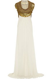 Goddess embellished silk-chiffon gown