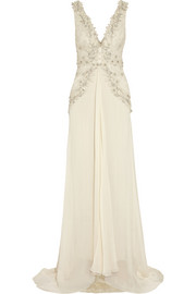 Temperley London Romily embellished silk-blend chiffon gown