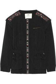 Monsoon convertible embroidered washed-cotton jacket