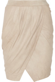Liana brushed-leather wrap-effect skirt