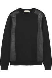 MICHAEL Michael Kors Leather-paneled fine-knit sweater
