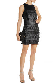 MICHAEL Michael Kors Faux leather-fringed jersey dress