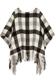 MICHAEL Michael Kors Plaid brushed-felt poncho