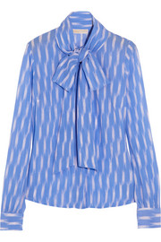 MICHAEL Michael Kors Pussy-bow printed georgette blouse