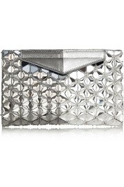 Fendi Evening embellished metallic textured-leather clutch