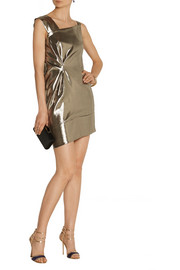 Roland Mouret Anser asymmetric silk-blend lamé dress