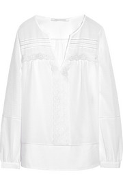 Diane von Furstenberg Andrea embroidered cotton and silk-blend top