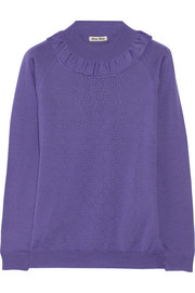 Ruffled pointelle-knit wool sweater